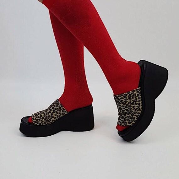Vintage 90s Brown Black Leopard Print Chunky Heel Slide Sandals - 1990s VTG Womens Open Toe Sandal - Animal Print Summer Wedges Shoes size 8