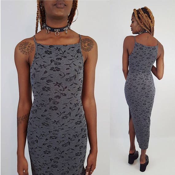 90s Women's Vintage Floral Bodycon Gray Black Dress - XS Small Maxi Sleeveless Dress - 1990s Glitter Shimmer Metallic Long Summer Tank Dress