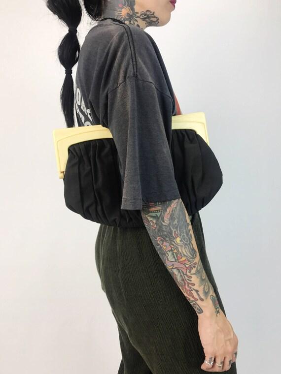 1950's Black Clutch Handbag - Black Clasp Closure Clutch Bag With Coin Purse Insert - Retro Goth Evening Clutch Black Minimalist Handbag