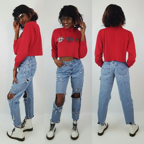 Vintage Red Plaid Hearts Cropped Crew Neck Sweatshirt Medium - Long Sleeve Crop Top Soft Grunge Top - Mock Turtleneck Raw Hem Cutoff Tee