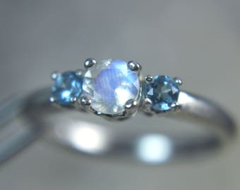 MOONSTONE - Faceted Rainbow Moonstone with Swiss Blue Topaz Accents Sterling Silver Ring! Free USA Shipping!