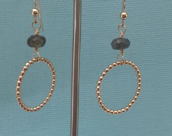 Goldfill hoop earrings with labradorite gemstone, Labradorite earrings, Goldfill hoop earrings