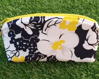 Yellow Flower Make Up Bag, Flower Zip Pouch, Flower Cosmetics Bag, Monochrome Floral Bag, Zip Travel Bag, Cosmetics Bag, Makeup Bag,