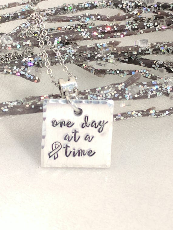 One Day At A Time-Cancer Awareness-Metal Stamped Jewelry-Inspirational Necklace-Survivor Jewelry-Exquisite Stamp Design-Handmade Jewelry
