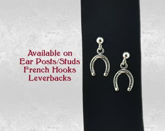 Horseshoe Horse Shoe Pair of Charm Earrings in Sterling Silver 925 Jewelry, Earring Studs, French Hooks or Leverback Choice