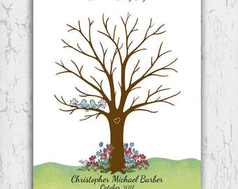 Baby Shower Thumbprint Tree Guest Sign In, Fingerprint Guest Book Poster, Printable File 11x14""