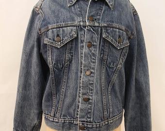Levis Vintage Blue Button Up Grunge Trucker Denim Jean Jacket Outerwear SZ S G25