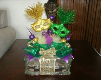 Mardi Gras Centerpiece- Party Masks Centerpiece- Lighted Glass Block- Home Decor- Holiday Interchangeable Table Decor -Carnival Celebration,