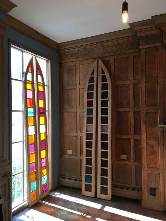 Antique Church Windows Circa 1880, Antique Sidelights, Huge Stained Glass Windows, Architectural Salvage