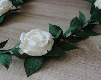 Wedding Paper Rose Flower Garland with Leaves, Wedding Garland Backdrop, Arch Decoration, Custom Chair Garland, Bridal Shower Decorations