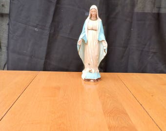Vintage Virgin Mary Statue, Tall Madonna Statue/Sculpture, Religious Statue Our Lady Of Lourdes Figurine, Chalk Saint Vierge 13.5'/35cm Tall