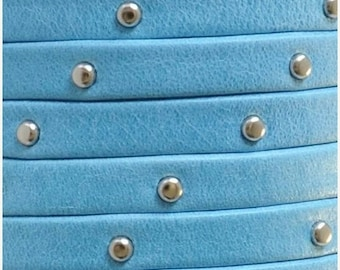 SALE:  1 METER 5mm Flat Arizona Turquoise with Silver Tacks Soft Leather Cord, Jewelry finding, supply, craft, Studded strap
