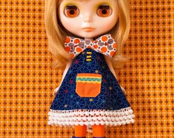 retro kitsch Blythe doll bow dress with pocket / CADEAU
