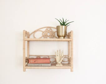 Vintage Rattan Shelf Wicker Boho Bathroom Kitchen Shelving Bohemian Home Decor Plant Holder Jungalow