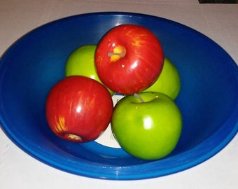 Large Smooth Stretched Blue Vinyl Record Bowl perfect for fruit or popcorn makes great statement piece Free Shipping