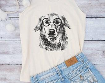 Golden Retriever shirt Glasses dog shirt dog tank women fashion top graphic teen shirt for ladies gifts girl shirt for women gifts for her