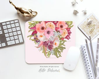 Summer Floral Mousepad Floral Mouse Pad Peony Mousepad Pink Roses Mousepad Office Mousemat Rectangular Mousepad Round 84.