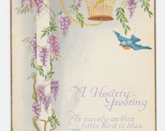Wisteria and Bluebird Hearty Greeting Postcard, 1923