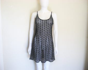 Semi Sheer see through lace black dress / cover up