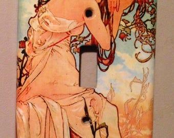 Mucha (Seasons - Summer): light switch cover plate