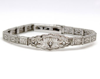 Sterling Silver Bracelet with CZ Vintage Elegant Antique art deco