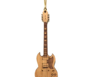 Wood SG Guitar Ornament