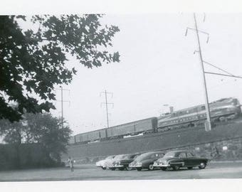 Vintage Original 1940s Photograph of a Train Moving along on its track B123 from the USA car
