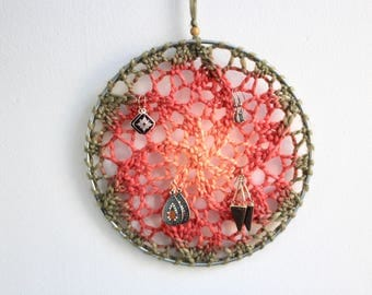 Wall Hanging Earring Holder / Jewelry Organizer / Dreamcatcher - Orange Starburst