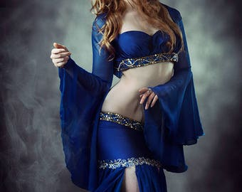 Bellydance fantasy costume Arabian Nights Oriental Princess CosplayBlue Top and skirt Gypsy Bell Sleeves Tribal Fusion Stage Wear Burlesque