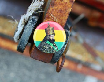 Haile Selassie I - Pinback or Magnet Button or Badge Reel
