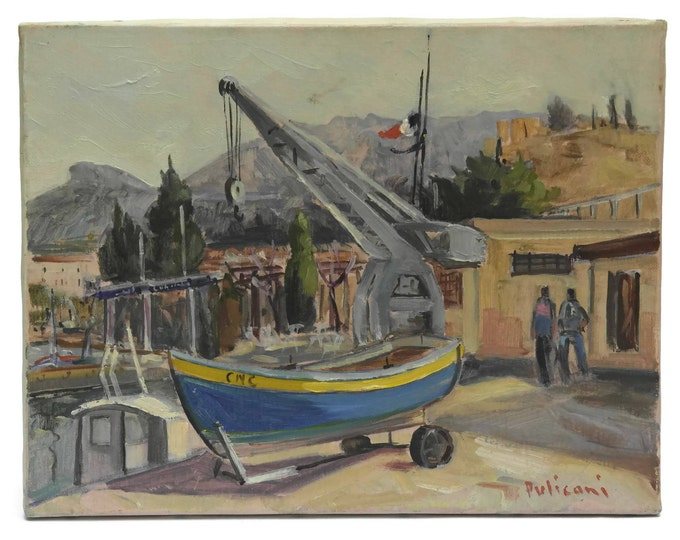 Fishing Boat Oil Painting. Mediterranean Coastal Village and Sea Painting. French Original Art.