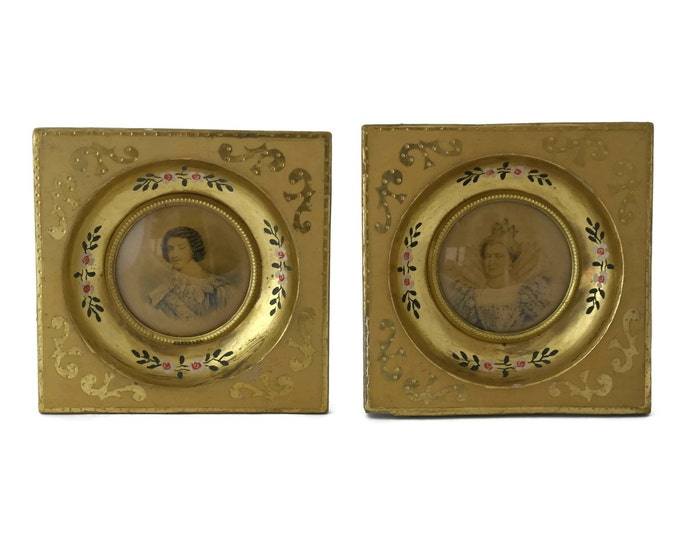 French King and Queen Miniature Portraits in Florentine Gold Frames. Henry IV & Maria De Medici.