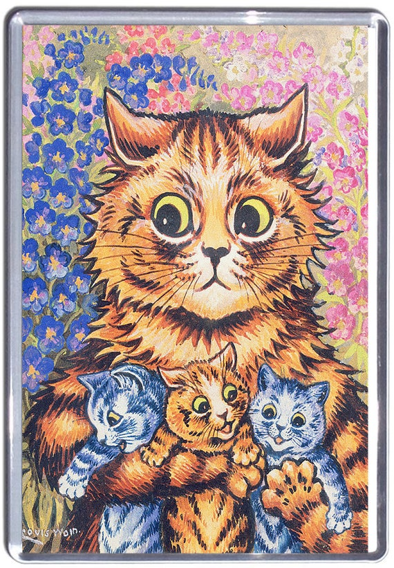 Louis Wain Mum Cat with Kittens Fridge Magnet 7cm by 4.5cm