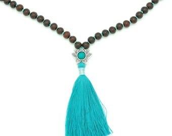 Rosewood Lotus Mala with Turquoise, silk tassel, hand-made, 108 bead mala