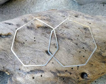 Sterling Silver Hoop Earrings, Hammered Hoops, Hoop Earrings, Hammered Earrings, Silver Earrings