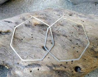 Sterling Silver Hoop Earrings, Hammered Hoops, Hoop Earrings, Hammered Earrings, Silver Earrings