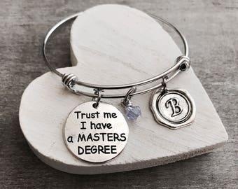 Sale, MBA, MSC, TRUST me I have a Masters Degree, Degree Gift, Graduation, Grad, Gifts, College degree, Silver Bracelet, Charm Bracelet