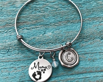 Mama to be, Mom to be, Mommy to be, pregnancy, announcement, Silver Bracelet, Charm Bracelet, Silver Jewelry, gift for, new mom, Baby shower