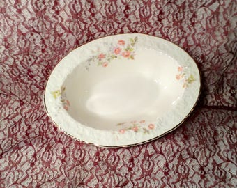 Large Serving Bowl - Rose Point, Embellished Floral Trim - Fine China with Gold Trim - Discontinued Pope Gosser - Wedding Serving