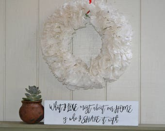 What I Love Most About Our Home Is Who I Share It With Sign, Family Sign, Fixer Upper Sign, Wall Decor, Home Decor, Housewarming Gift, Home