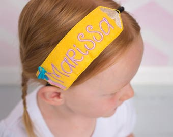 Back to School Headband - Pencil Headband - Personalized Headband - Hair Accessory - Monogram Headband - School Hair Accessory - Embroidered