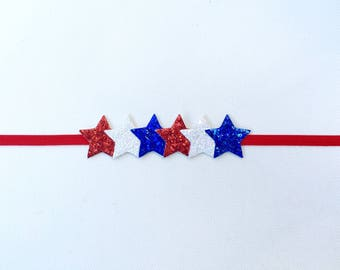 4th of July Star Headband | Fourth of July Glitter Star Headband | 4th of July Headband | 4th of July Baby Headband | 4th Star Headband