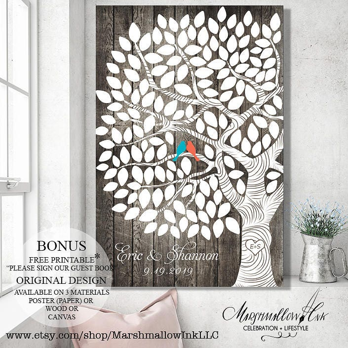 Wedding Guest Book Custom Guest book, Wedding Signs Guestbook Alternative, Wedding Gift Wedding Canvas, Rustic Wedding Tree Guest Book Tree