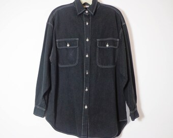 Dark Navy Blue Black Vintage 90s Button Down Shirt with White Contrast Stitch & Silver Buttons, Retro Revival Unisex Fashion Medium
