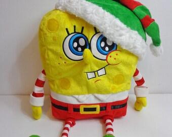 2014 Collectible Spongebob Squarepants Macy's Christmas Santa Plush Stuffed Animal Toy Doll, Holiday Cartoon Character Gift