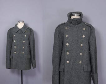 Mens 1940s Wool Swiss Army Jacket / Swiss Military Jacket / Wool Military Coat / Double Breasted Military Coat