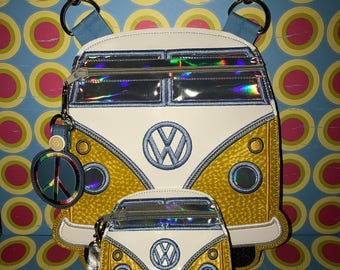 VW Van Zipper Bag with Strap, Peace sign zipper pull and coin purse