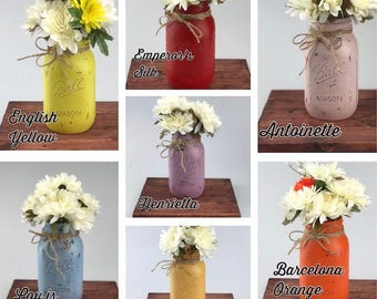 Mason Jars Decor - Annie Sloan Chalk Painted Mason Jars - Distressed Mason Jars - Rustic Mason Jars Decor - Farmhouse Decor - Gift for Her