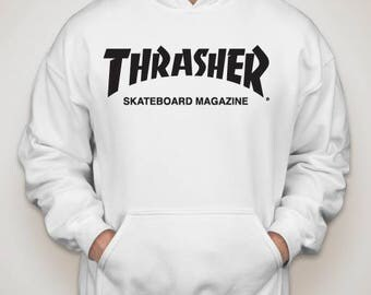 Thrasher hoodie white clothing skateboard magazine sweatshirt