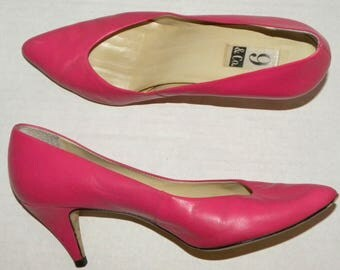 1980s 80s PINK Leather Pumps / Shocking Hot Pink /  Size 9M